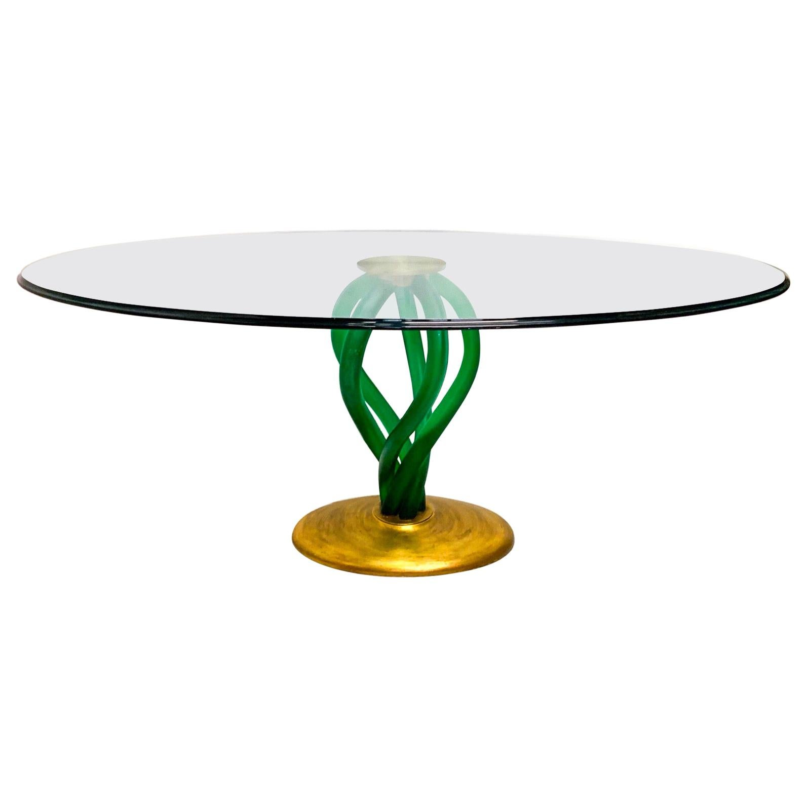 Modern Green Lucite and Gilt Glass Top Dining Table