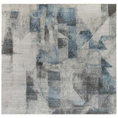 Modern Grey and Blue Braque Rug