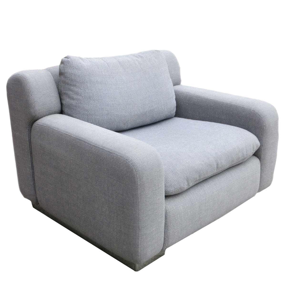 Modern Grey and Chrome Lounge Chair by George Kasparian