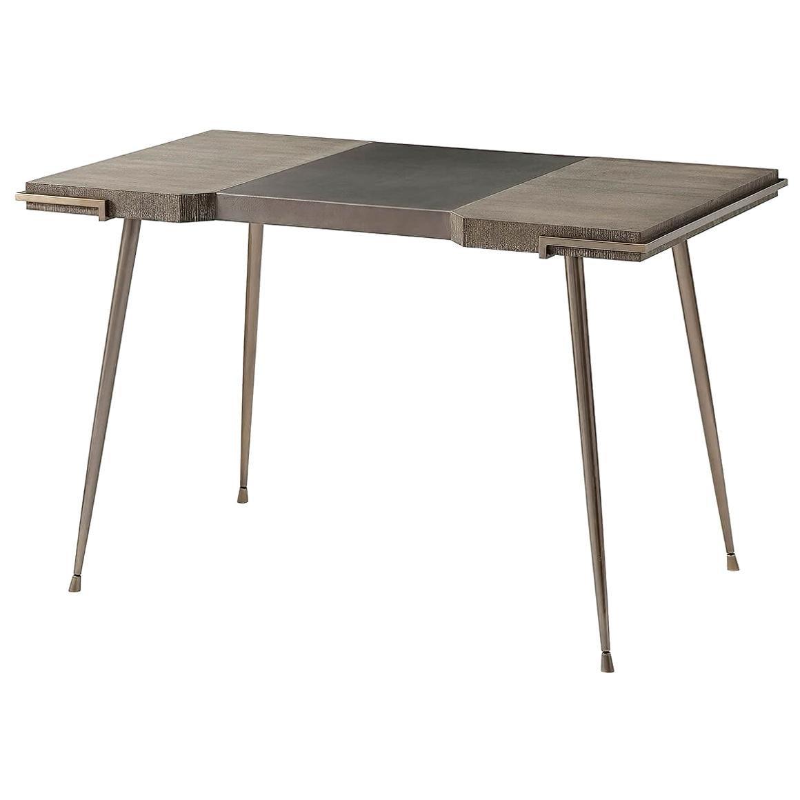 Modern Grey Oak and Leather Top Desk