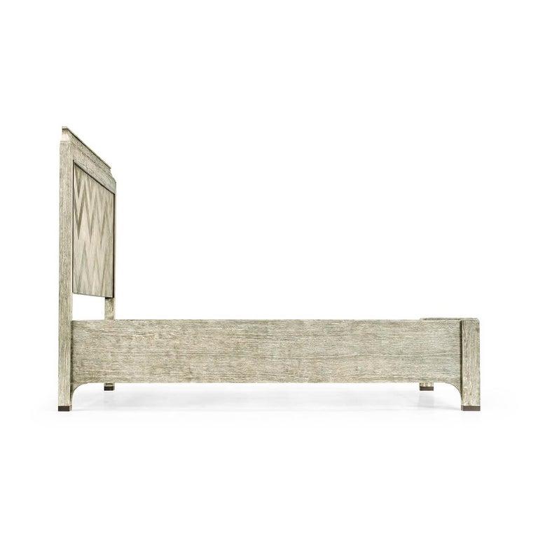 English Modern Greyed Oak King Size Bed For Sale