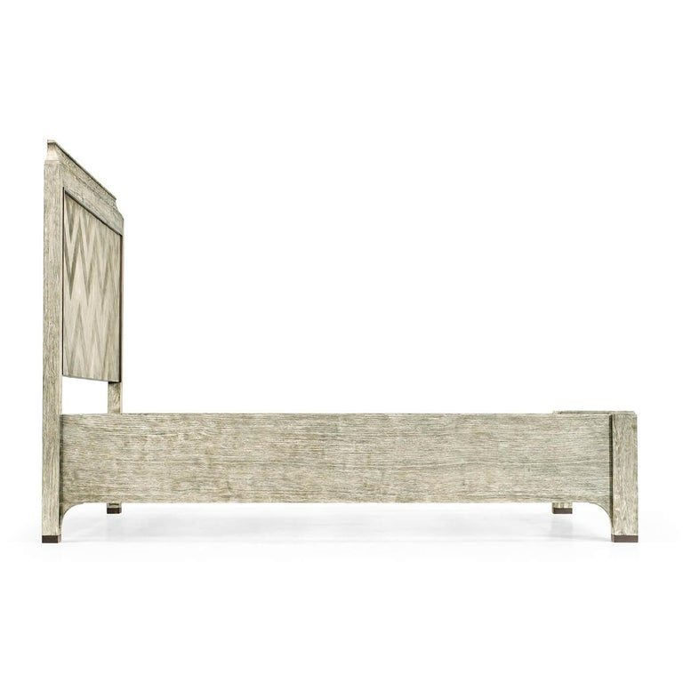 Modern Greyed Oak King Size Bed For Sale 2