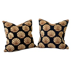 Modern Gros Point Pair of Pillows, in Black with Tan Sea Shell Motive