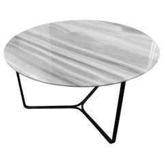 Modern Guatemala White Marble Coffee or Side Table Metal Base in Black