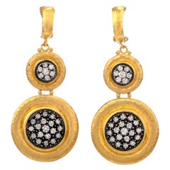 Modern Gurhan Diamond 24 Karat Dangle Omega Clip Earrings