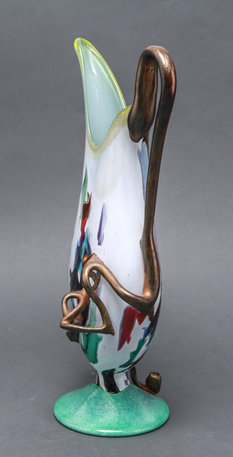 Modern Hand Blown Glass Pitcher or Ewer In Good Condition For Sale In New York, NY