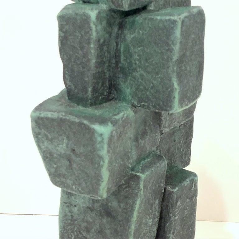 Modern Hand Built Brutalist Weathered Bronze Ceramic Totem Sculpture Judy Engel In New Condition In Hudson, NY