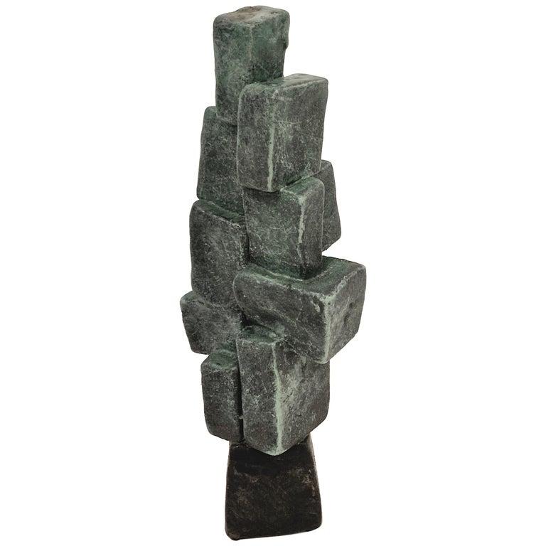Modern Hand Built Brutalist Weathered Bronze Ceramic Totem Sculpture Judy Engel