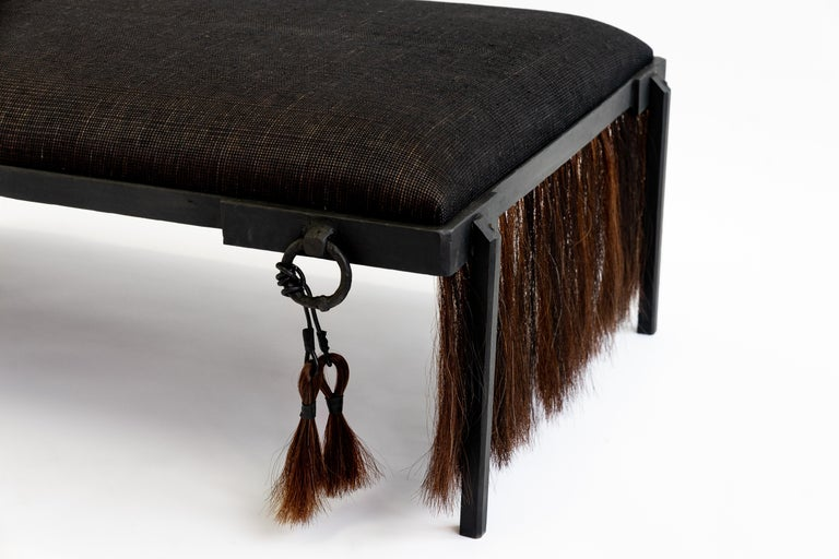 American Modern Hand Carved Blackened Steel Bench with Handwoven Horsehair in Brown For Sale