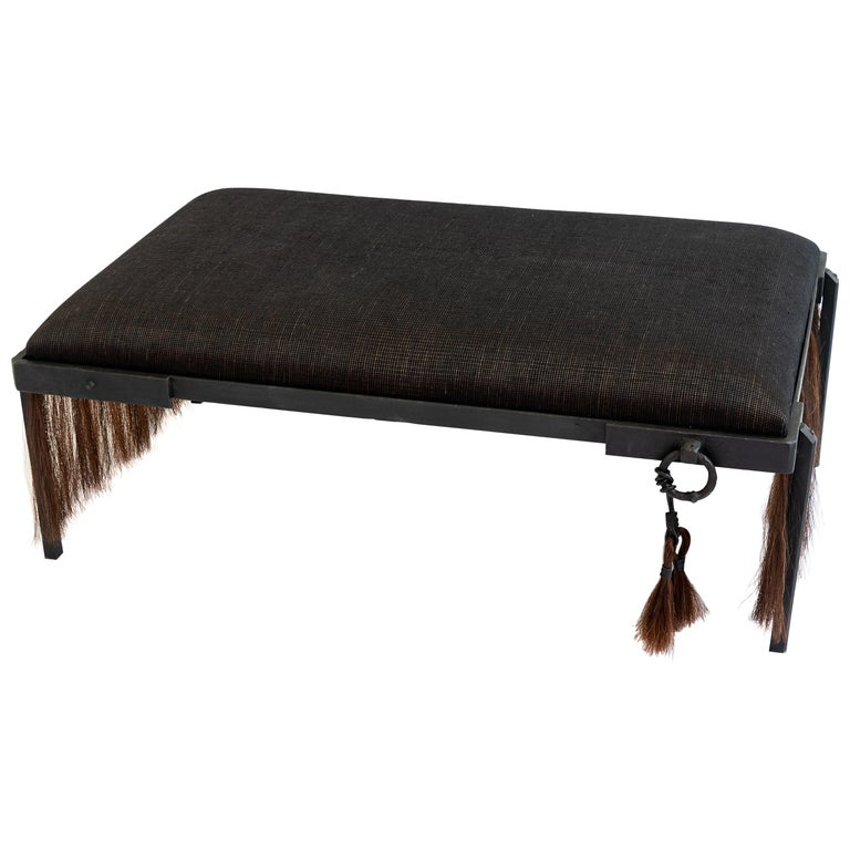 Modern Hand Carved Blackened Steel Bench with Handwoven Horsehair in Brown For Sale