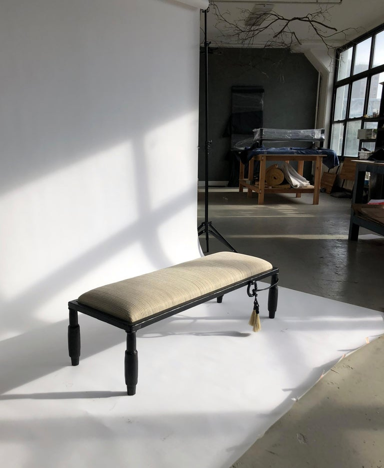 Bench no. 4 - Modern Hand Carved Blackened Steel Bench with Hand Woven Horsehair For Sale 1