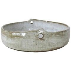 Modern Hand Carved Ceramic Serving Bowl, Mottled Glossy White Glaze, Hand Built