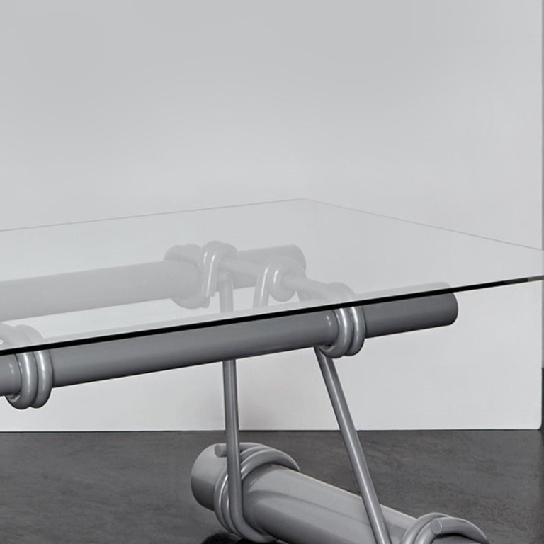 Modern Hand Forged Glass and Steel Table by Tessa Koot & Ward Wijnant For Sale