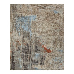 Modern Hand Knotted Area Rug in Beige Wool Blend