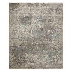 Modern Hand Knotted Area Rug in Beige Wool