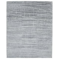 Modern Hand Knotted Area Rug in Gray Viscose Blend