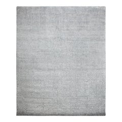 Modern Hand Knotted Area Rug in Gray Wool Blend