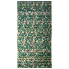 Modern Hand Knotted Silk Floral Rug Green Blue and Gray Pattern by Rug & Kilim