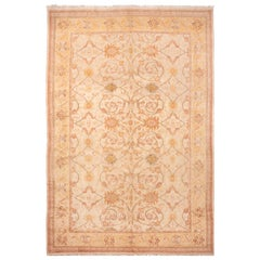 Modern Hand Knotted Sultanabad Style Yellow and Blue Wool Rug