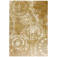 Modern Hand Knotted Wool and Silk Rug in White and Cinnamon Shades