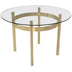 Modern Hand-Made Polished Bronze & Glass Center Hall Table in Most Dimensions