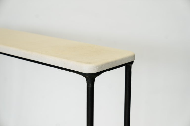 American Modern Hand Sculpted/Carved Steel Console Table with St Laurent or Limestone Top For Sale