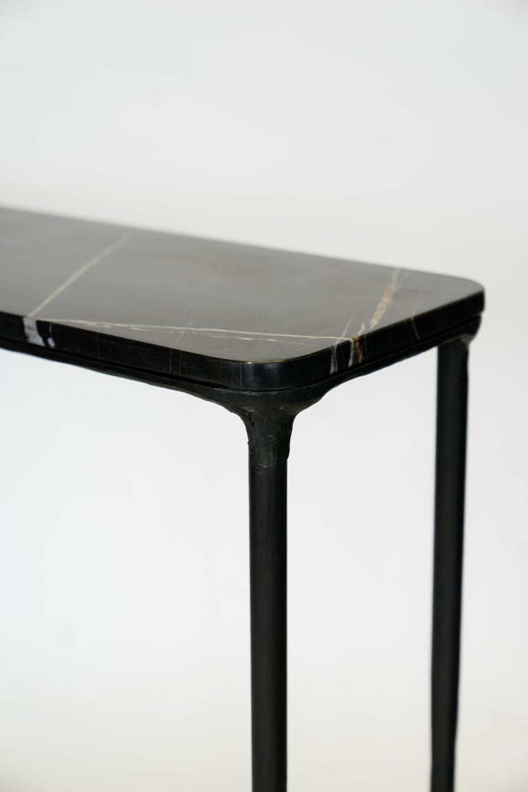 Hand-Carved Modern Hand Sculpted/Carved Steel Console Table with St Laurent or Limestone Top For Sale