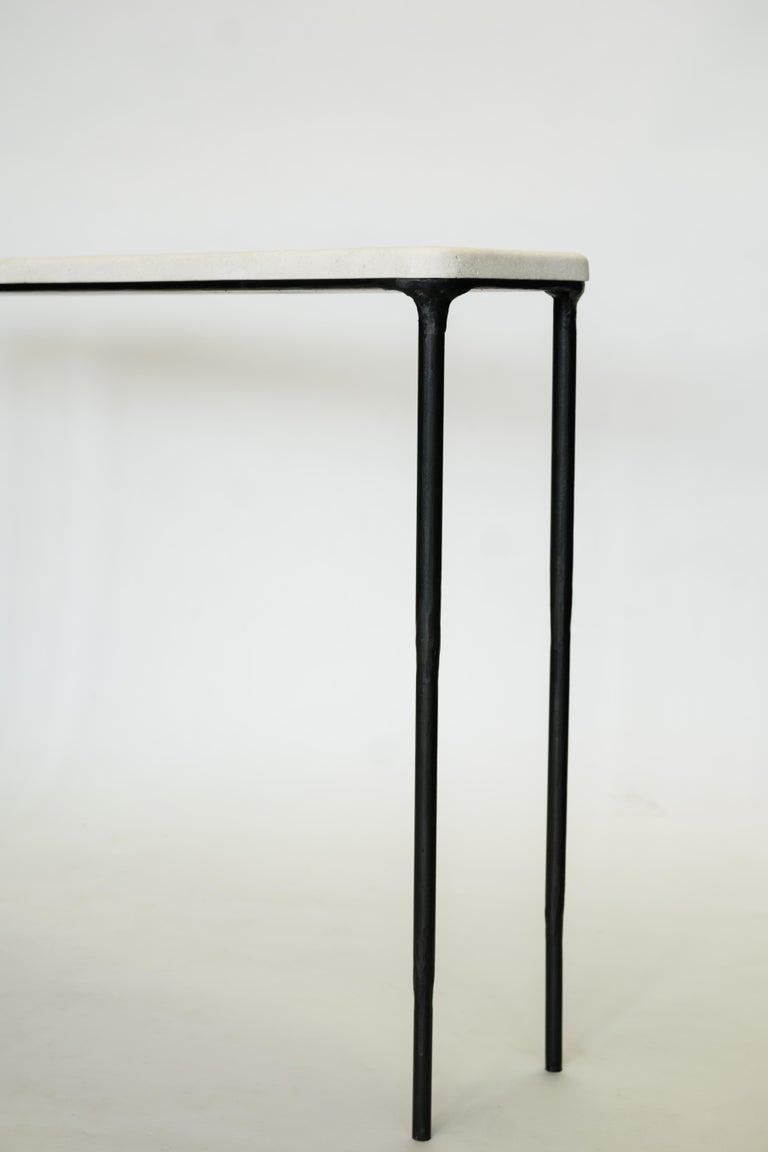 Modern Hand Sculpted/Carved Steel Console Table with St Laurent or Limestone Top In New Condition For Sale In Bronx, NY