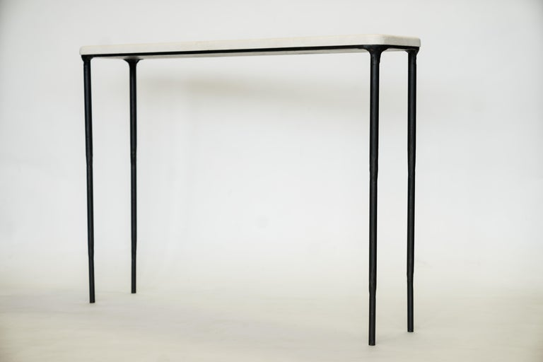 Contemporary Modern Hand Sculpted/Carved Steel Console Table with St Laurent or Limestone Top For Sale