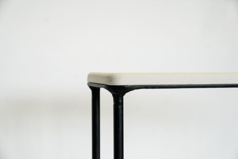 Modern Hand Sculpted/Carved Steel Console Table with St Laurent or Limestone Top For Sale 1