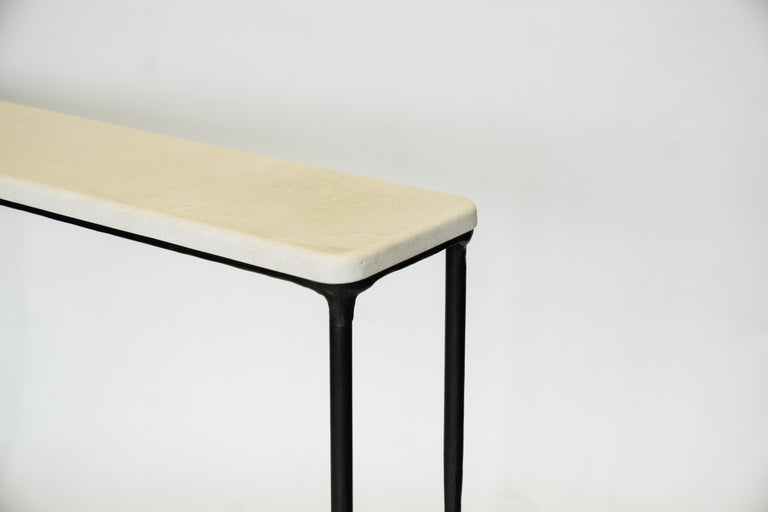 Modern Hand Sculpted/Carved Steel Console Table with St Laurent or Limestone Top For Sale 2