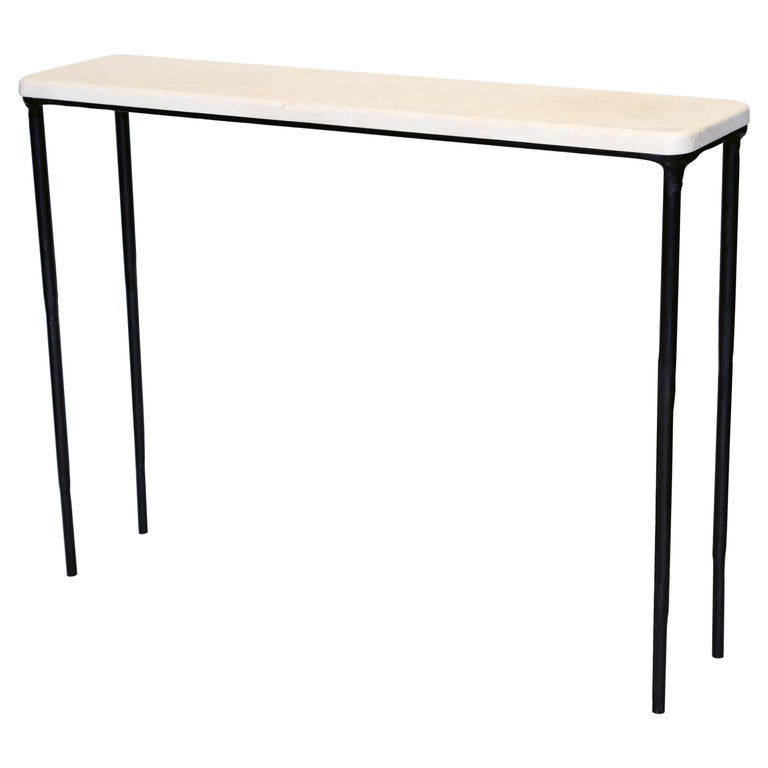 Modern Hand Sculpted/Carved Steel Console Table with St Laurent or Limestone Top For Sale