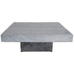 Modern Hand Sculpted Cast Aluminum Silver Gray Metal Table