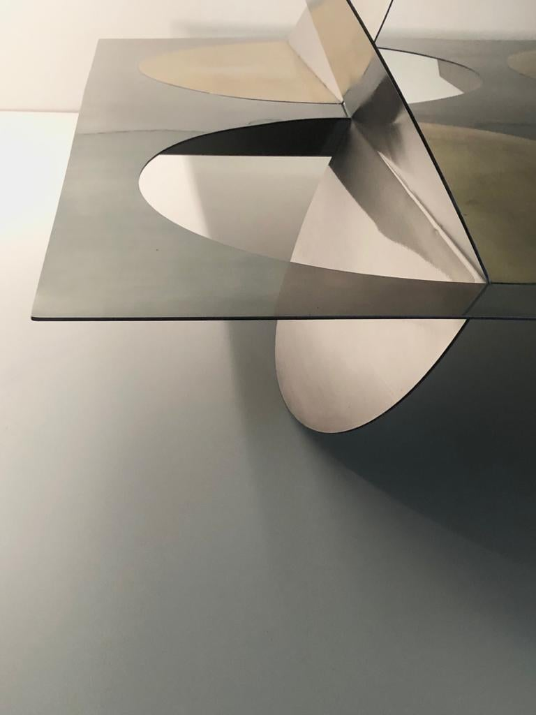 Modern Geometric Coffee Table Metal Stainless Steel Brass Glass on top by Ana Volante  For Sale