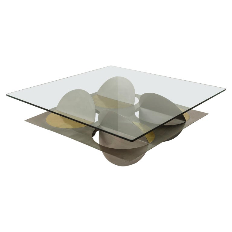 Geometric Coffee Table Metal Stainless Steel Brass Glass on top by Ana Volante  For Sale