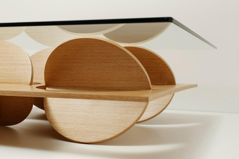 Modern Coffee Table White Oak Wood Glass on top by Ana Volante in Stock For Sale 4
