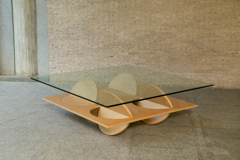 Tempered Modern Coffee Table White Oak Wood Glass on top by Ana Volante in Stock For Sale