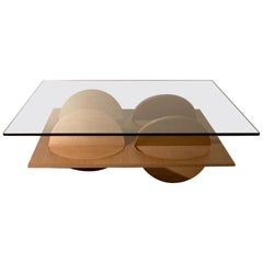 Geometric Coffee Table White Oak Wood Glass on top by Ana Volante in Stock