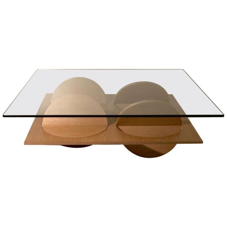 Modern Coffee Table White Oak Wood Glass on top by Ana Volante in Stock For Sale