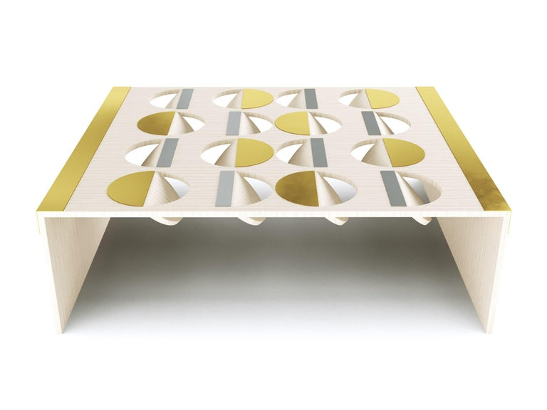 American Modern Coffee Table Oak Wood Brass Metal Stainless Steel by Ana Volante in Stock For Sale