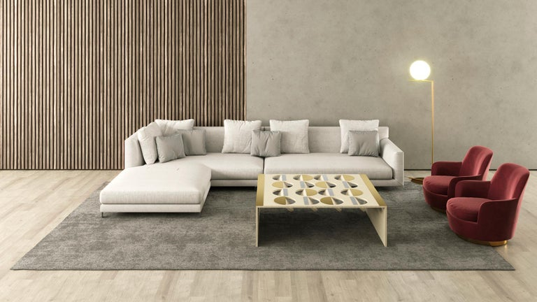 Brushed Modern Coffee Table Oak Wood Brass Metal Stainless Steel by Ana Volante in Stock For Sale