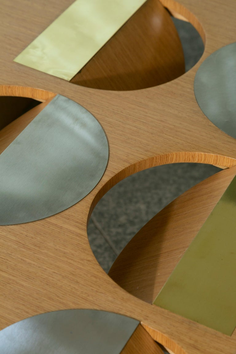 Modern Coffee Table Oak Wood Brass Metal Stainless Steel by Ana Volante in Stock In New Condition For Sale In Miami, FL