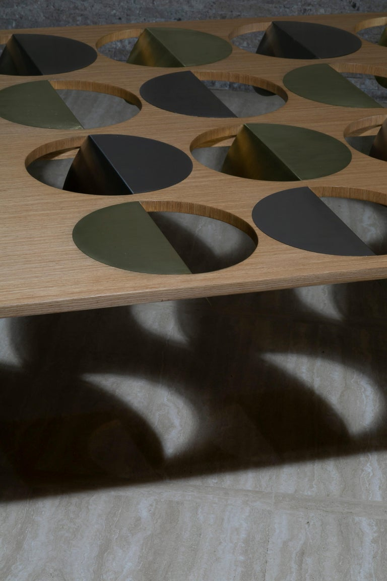 Contemporary Modern Coffee Table Oak Wood Brass Metal Stainless Steel by Ana Volante in Stock For Sale