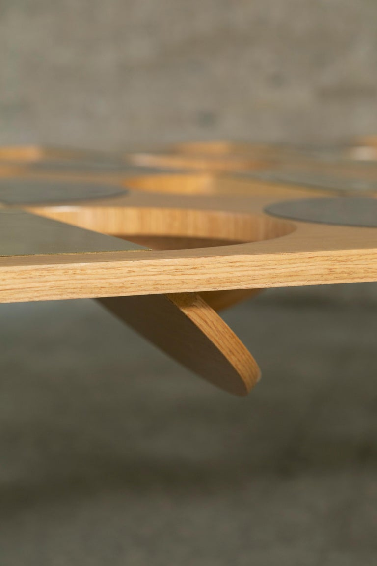Modern Coffee Table Oak Wood Brass Metal Stainless Steel by Ana Volante in Stock For Sale 1