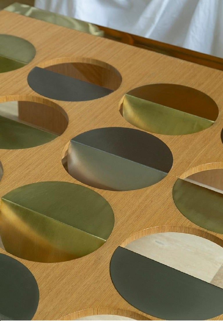 Modern Coffee Table Oak Wood Brass Metal Stainless Steel by Ana Volante in Stock For Sale 2