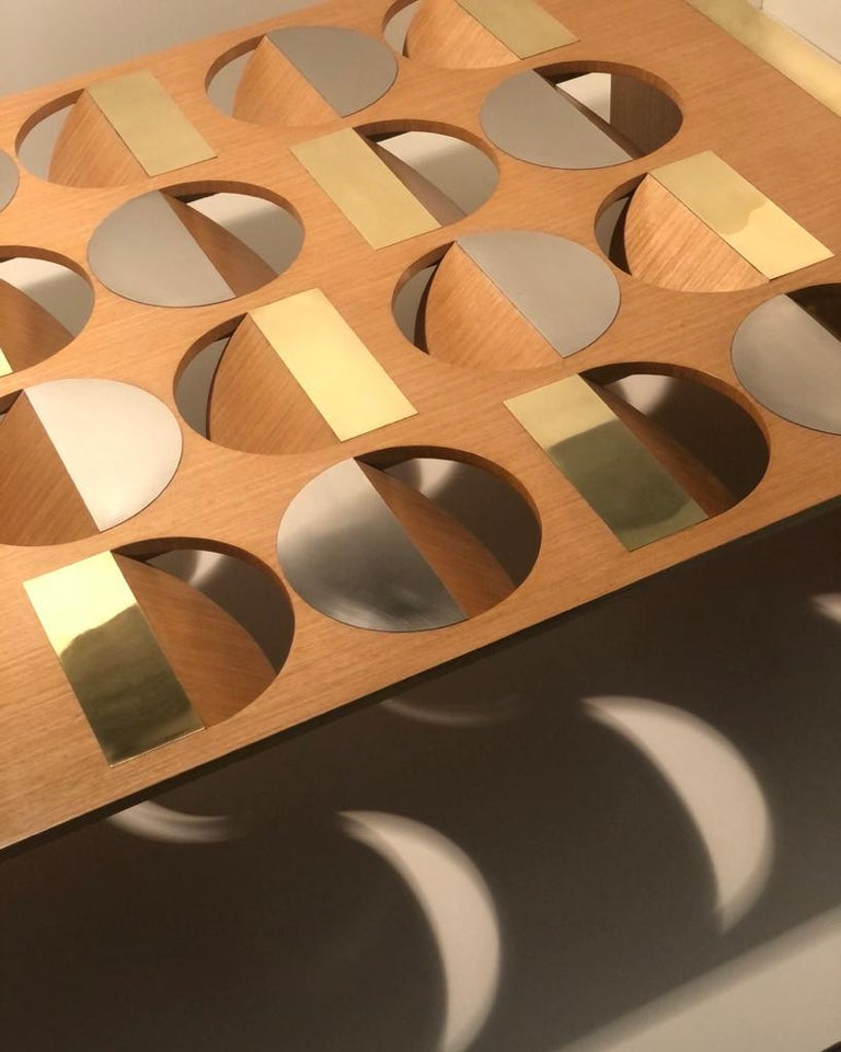 Modern Coffee Table Oak Wood Brass Metal Stainless Steel by Ana Volante in Stock For Sale 3