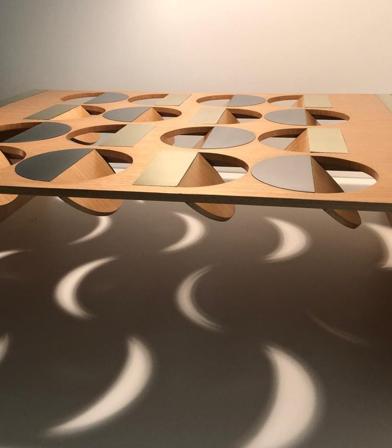 Modern Coffee Table Oak Wood Brass Metal Stainless Steel by Ana Volante in Stock For Sale 4