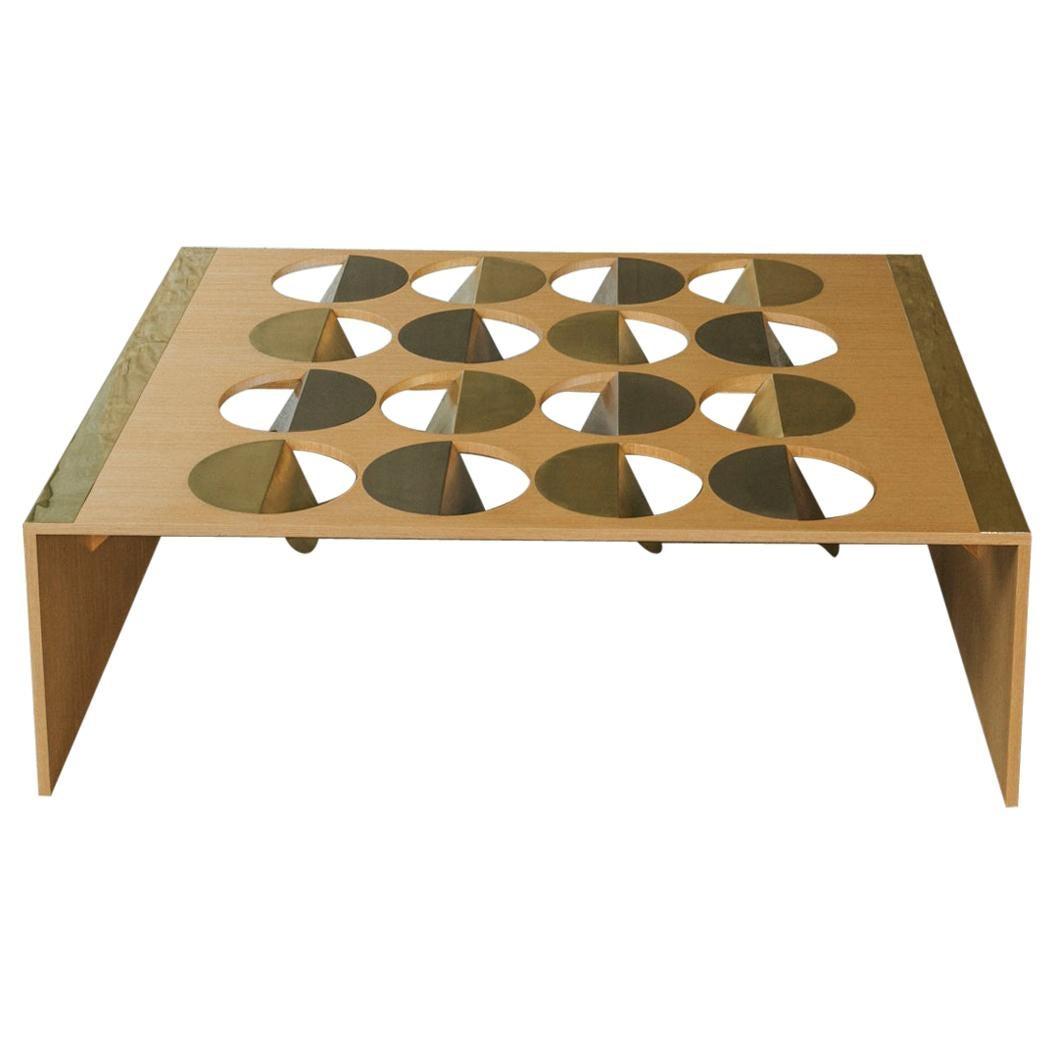 Geometric Coffee Table Oak Wood Brass Metal Stainless Steel by Ana Volante stock