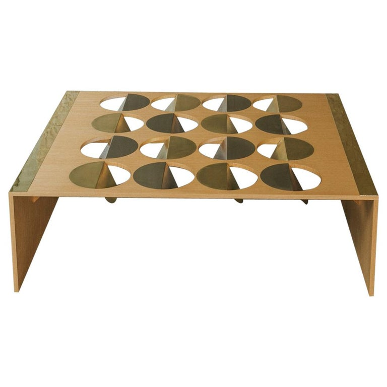 Modern Coffee Table Oak Wood Brass Metal Stainless Steel by Ana Volante in Stock For Sale