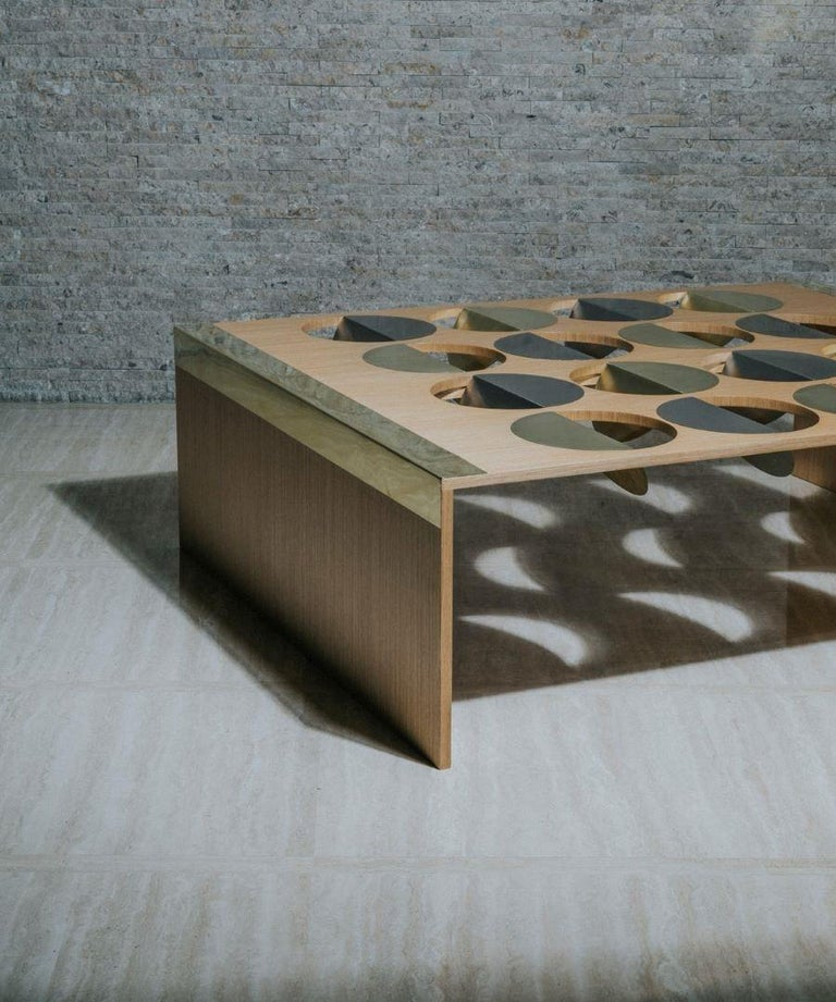 """Moonland wood coffee table Baltic birch plywood with quarter cut white oak veneer Brass 260 and stainless steel inlays Tempered glass 3/8"""" Designed by Ana Volante Dimensions 45cm (H) x 120cm (W) x 150cm (D)  18"""